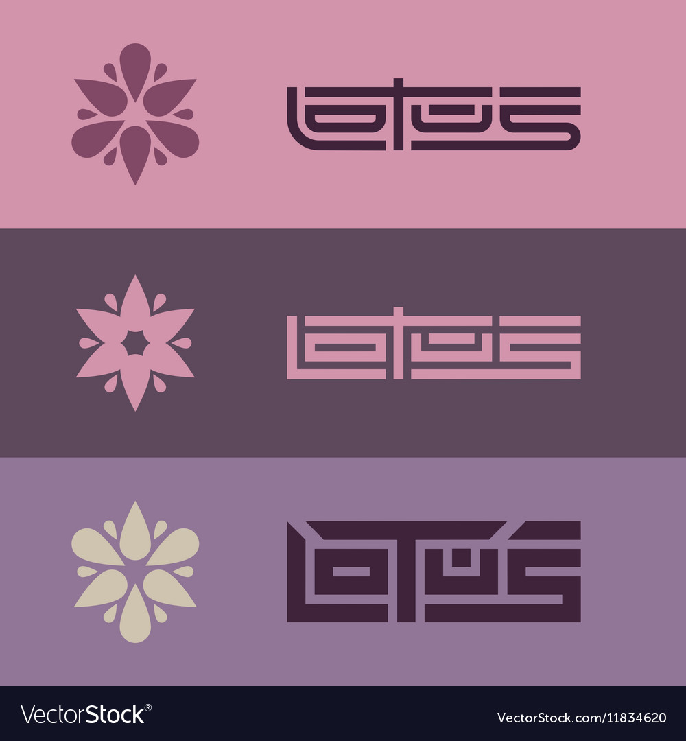 Lotus - set of logo templates with stylized flower