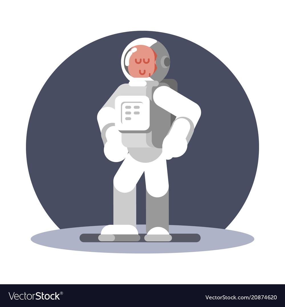 Man cosmonaut in helmet standing