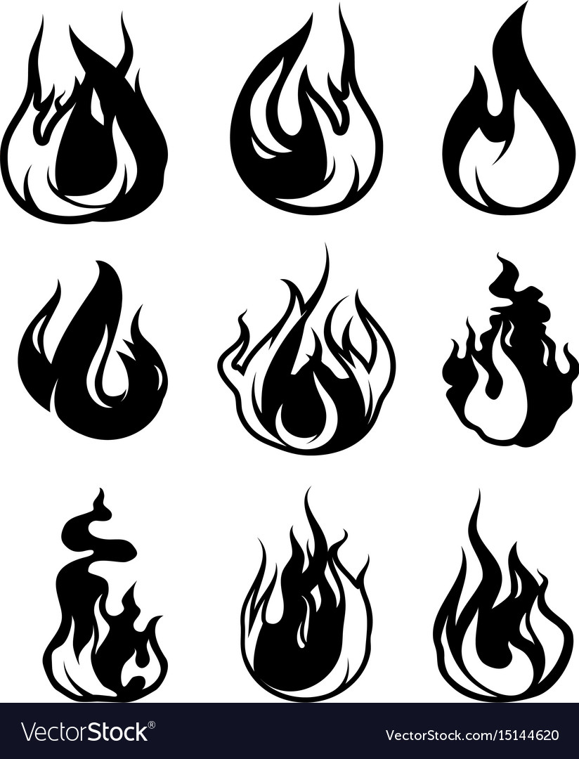 Monochrome symbols of flame black icons