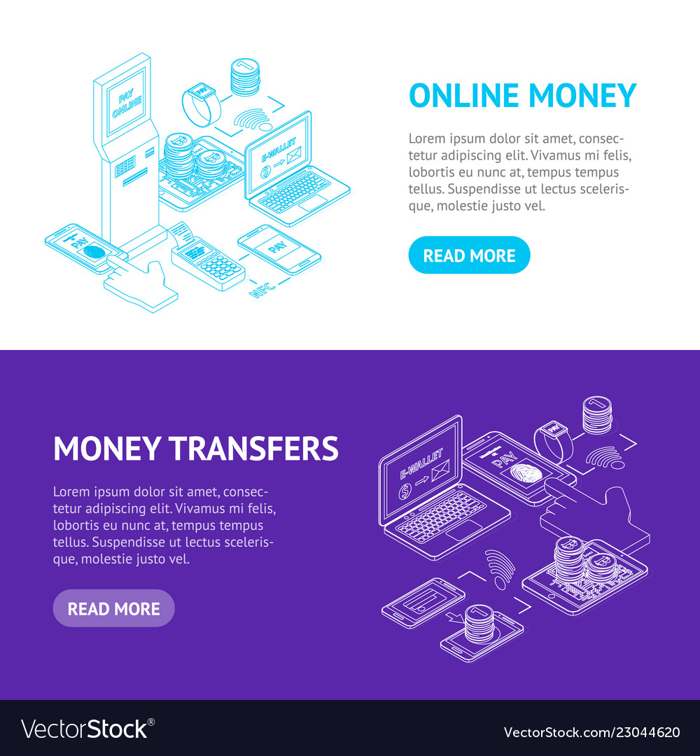 Online payments signs 3d banner horizontal set