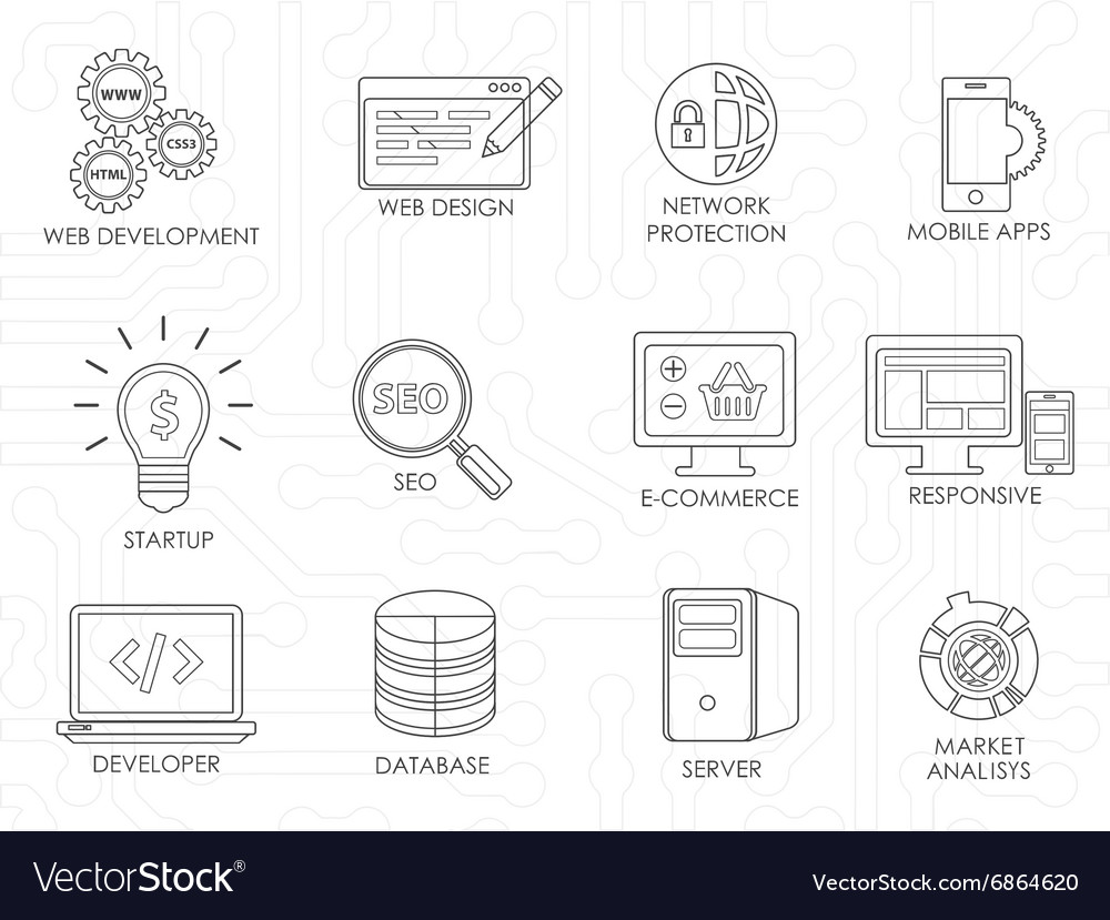 Programmer software developer thin line icons set vector image
