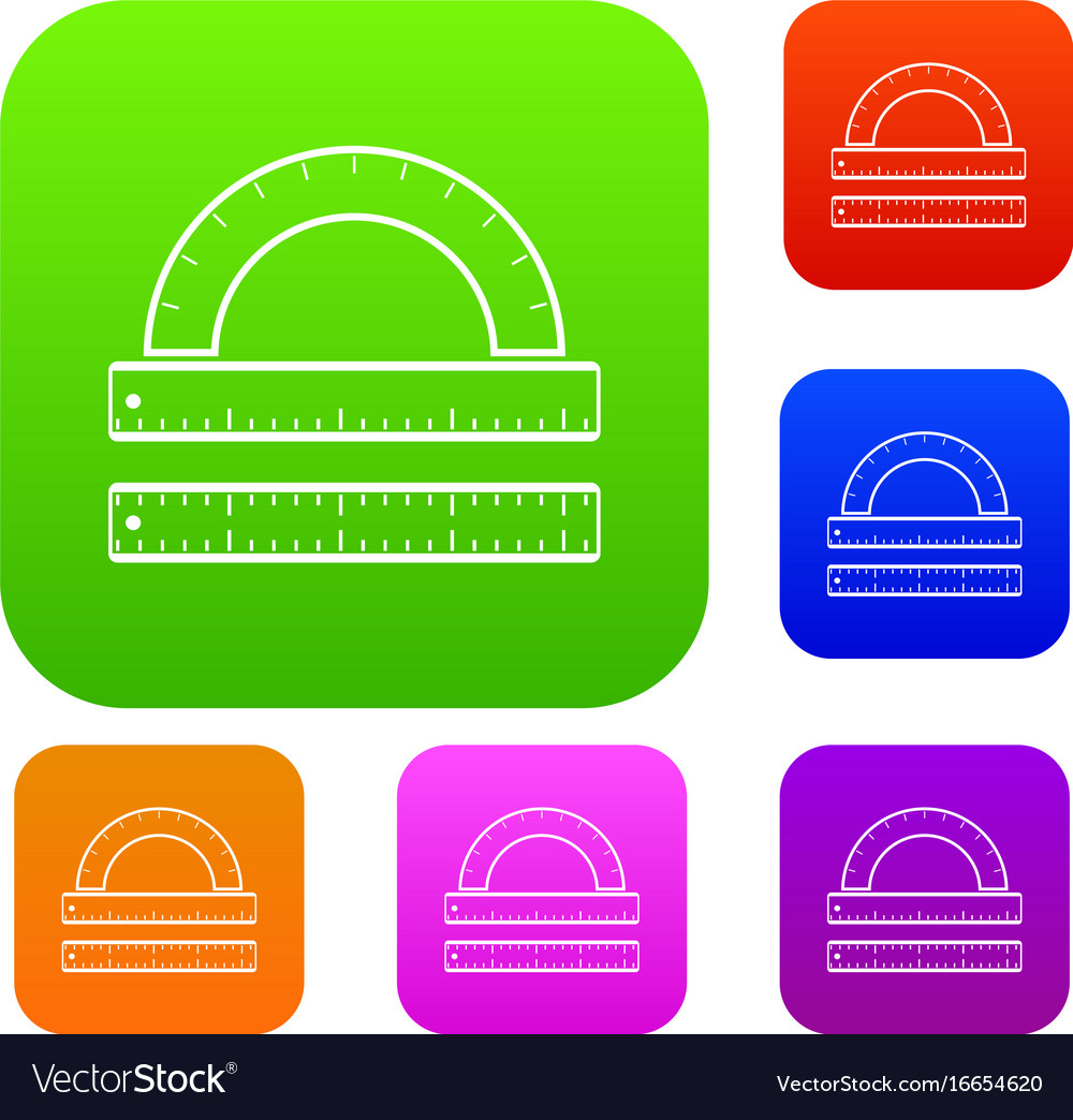 Ruler and protractor set collection vector image