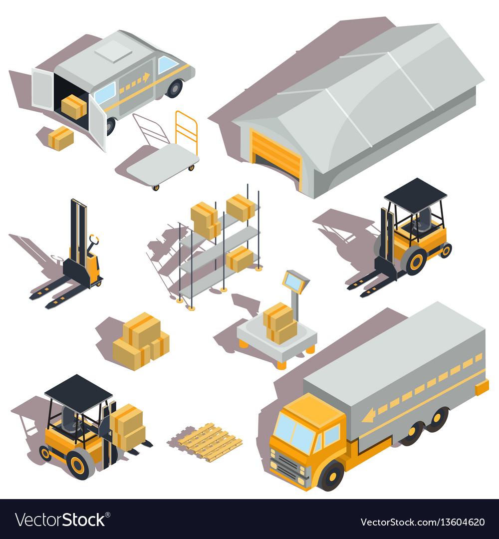 Set of logistic and delivery isometric