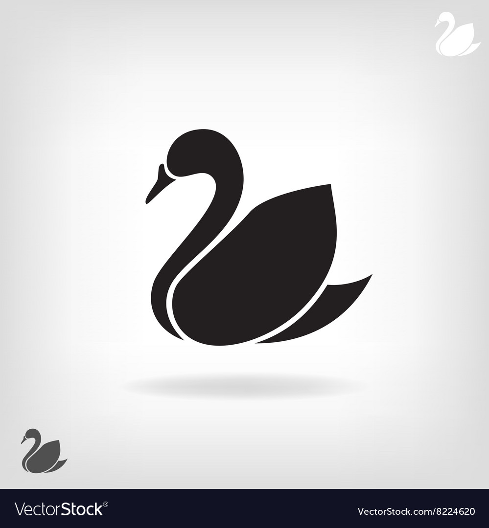 Stylized silhouette of Swan on a light background