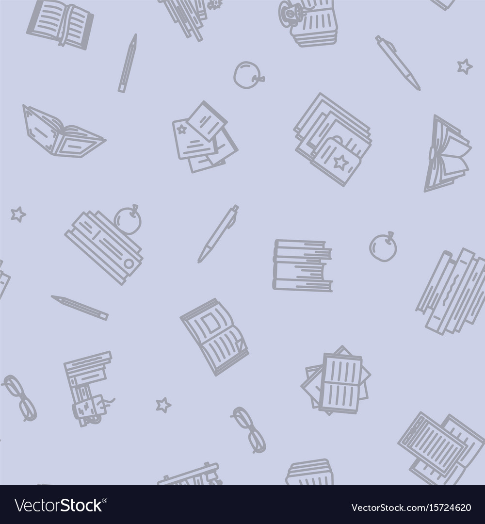 Thin lined book seamless pattern vector image