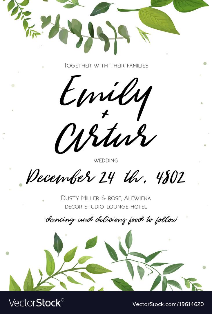 Wedding invitation floral invite card design