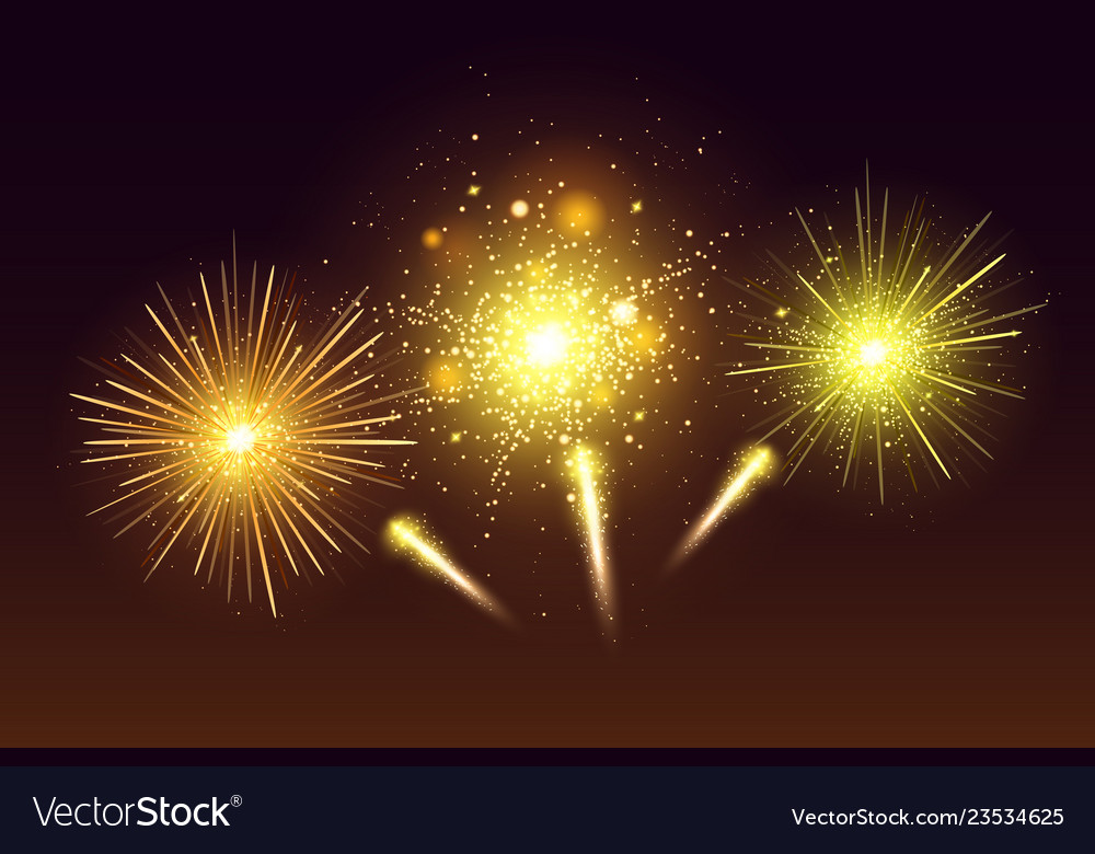 Bright festive colorful fireworks set
