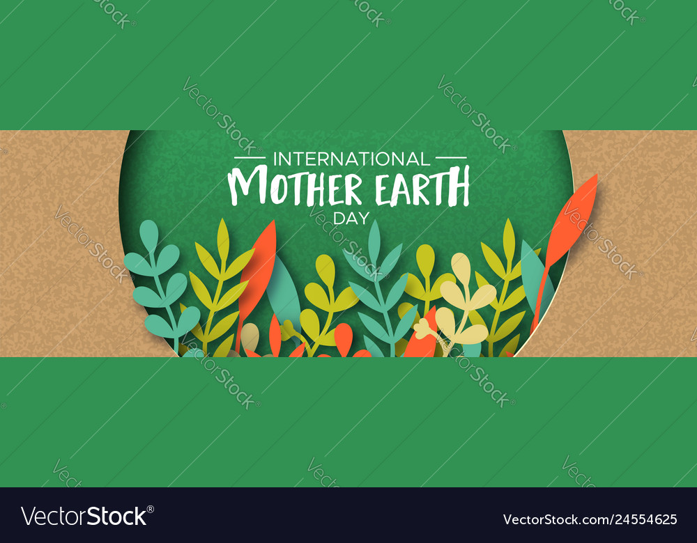 Earth day banner of color leaves in recycled paper
