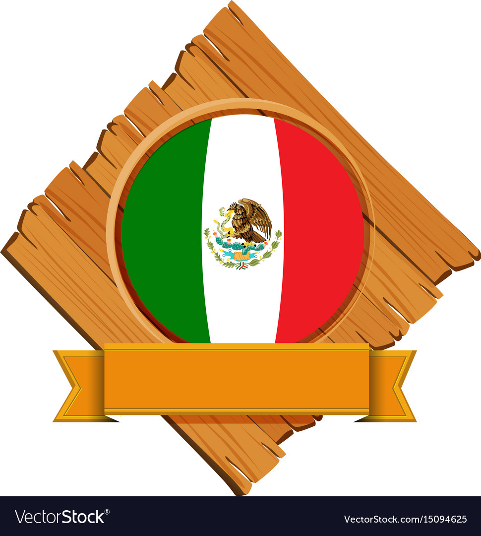 Flag of mexico on wooden board