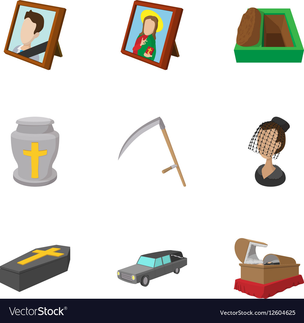 Funeral icons set cartoon style