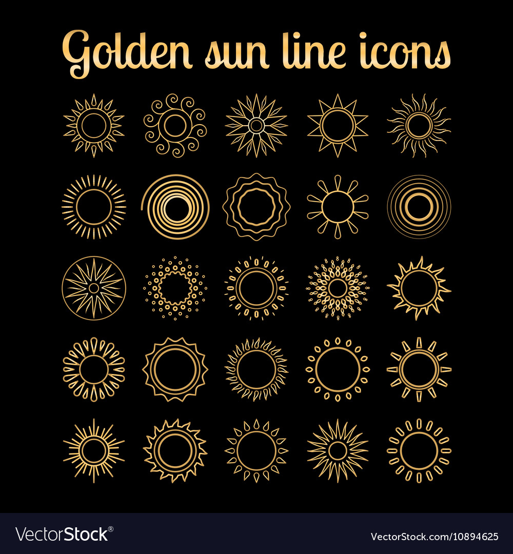 Golden sun thin line icons set