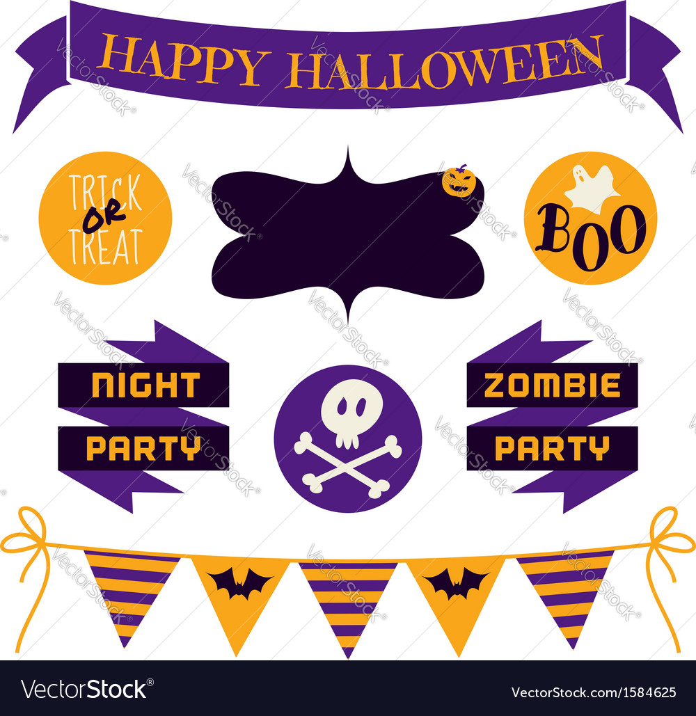 Halloween design elements in purple and yellow