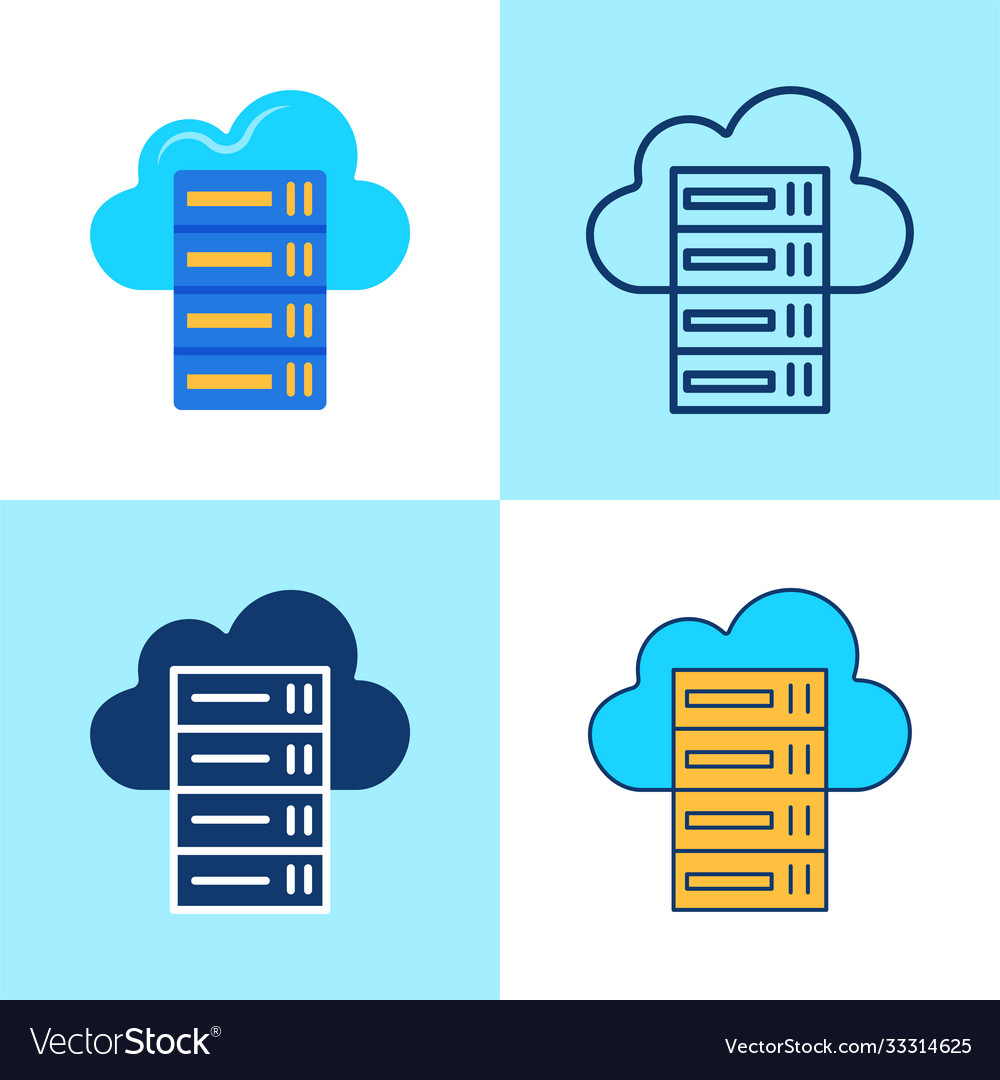 Hosting icon set in flat and line style