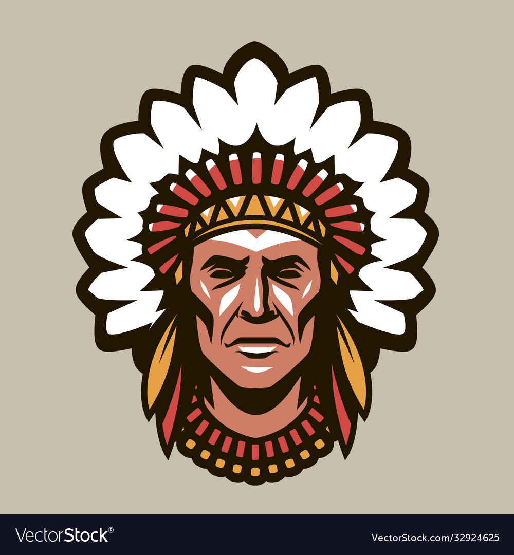 Indian chief in headdress feathers warrior