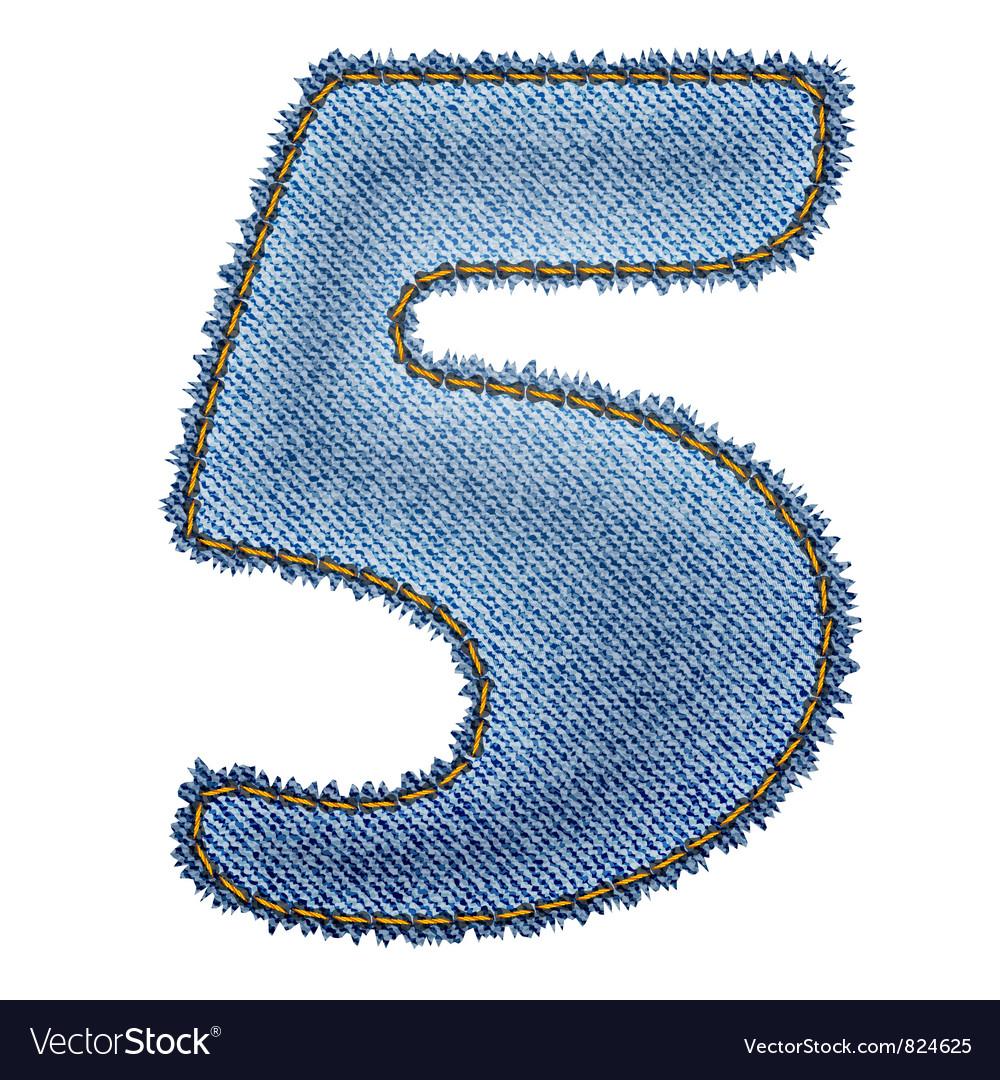 Jeans alphabet Denim number 5 vector image