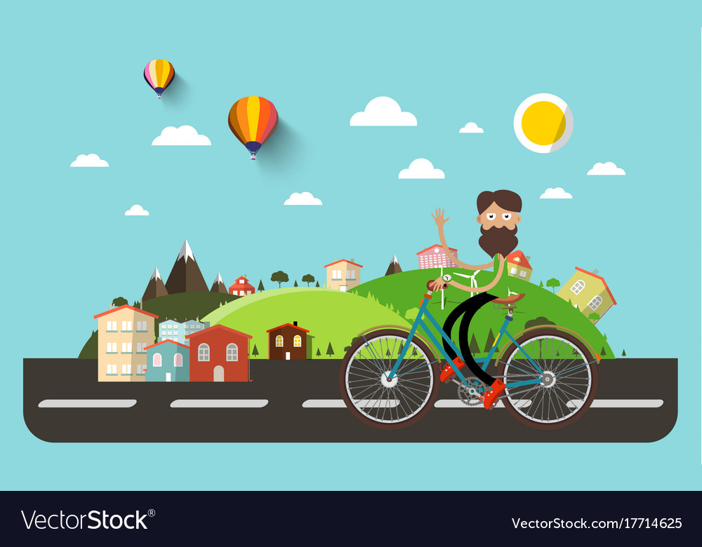 Man on bicycle with flat design abstract