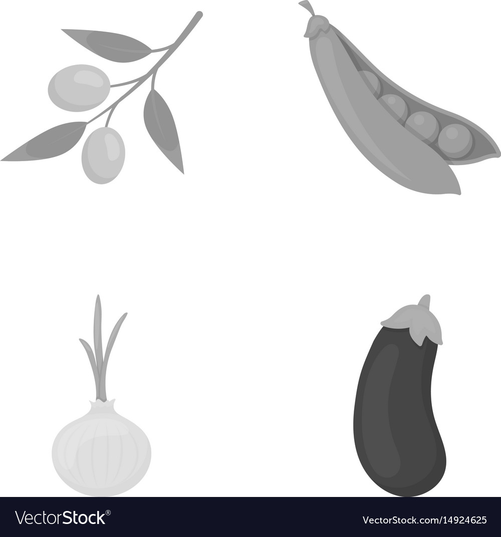 Olives on a branch peas onions eggplant