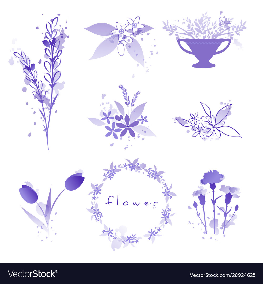 Purple flowers set with watercolor splashes