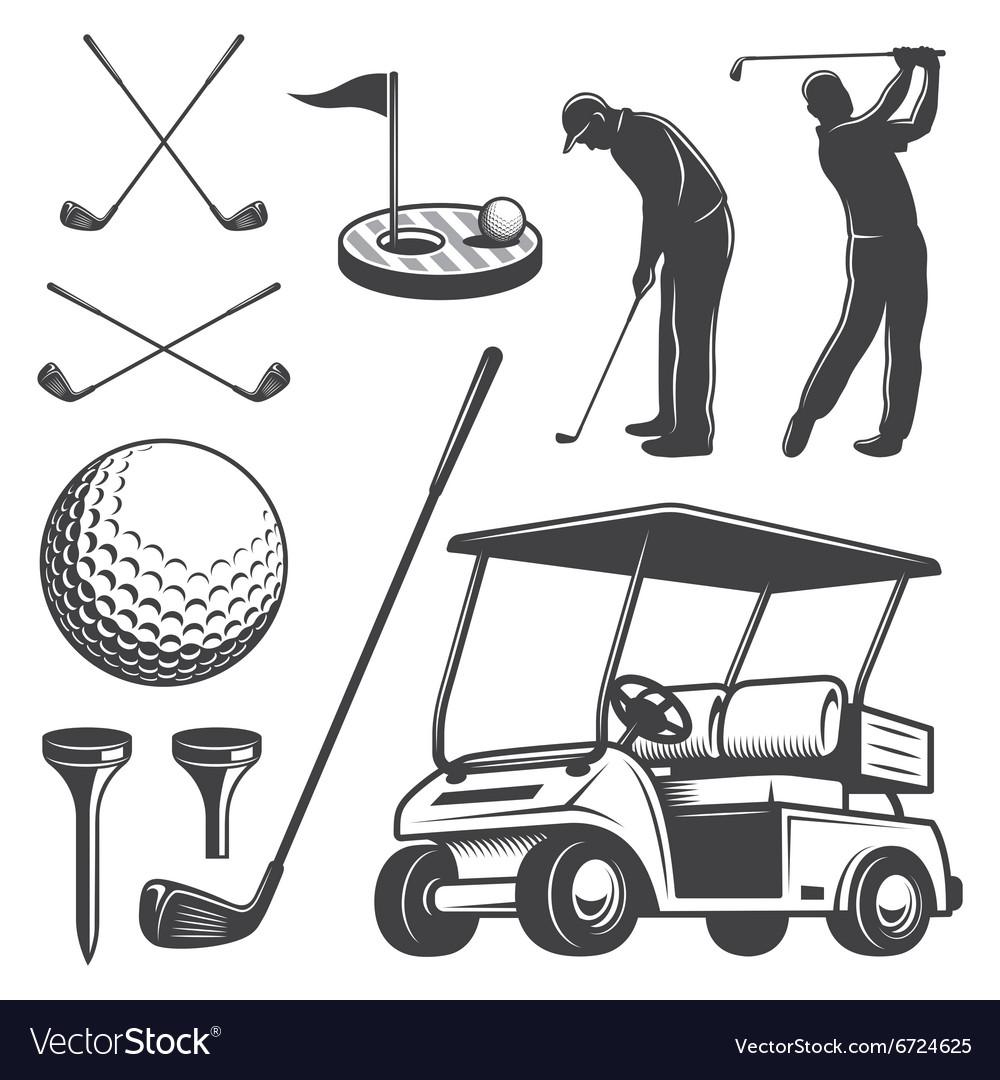 Set of vintage golf elements
