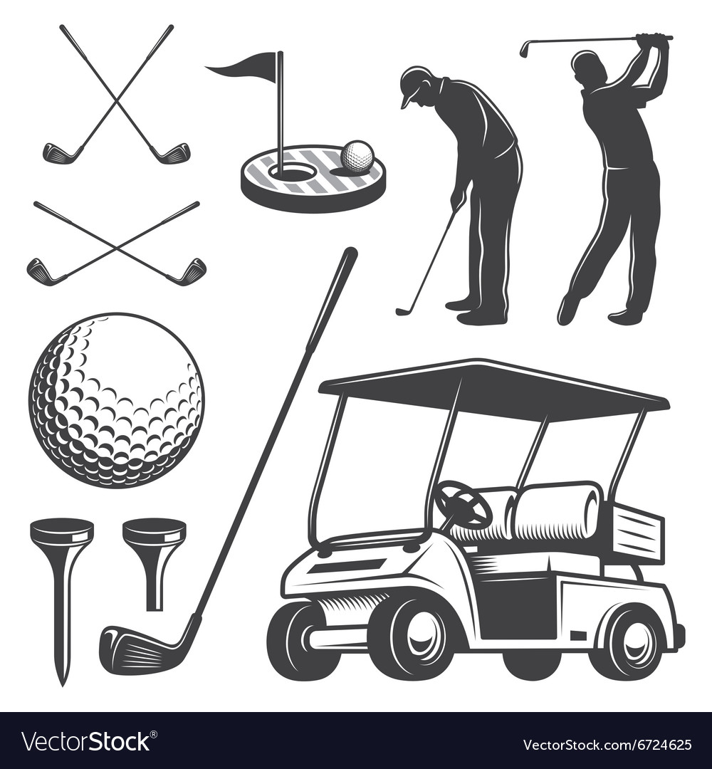 Set vintage golf elements