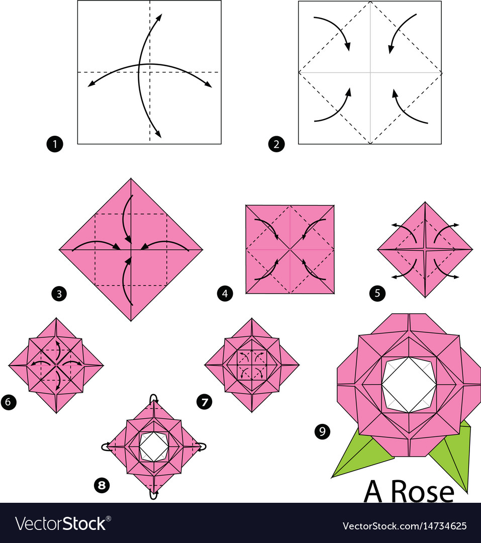 Step By Instructions How To Make Origami Vector Image