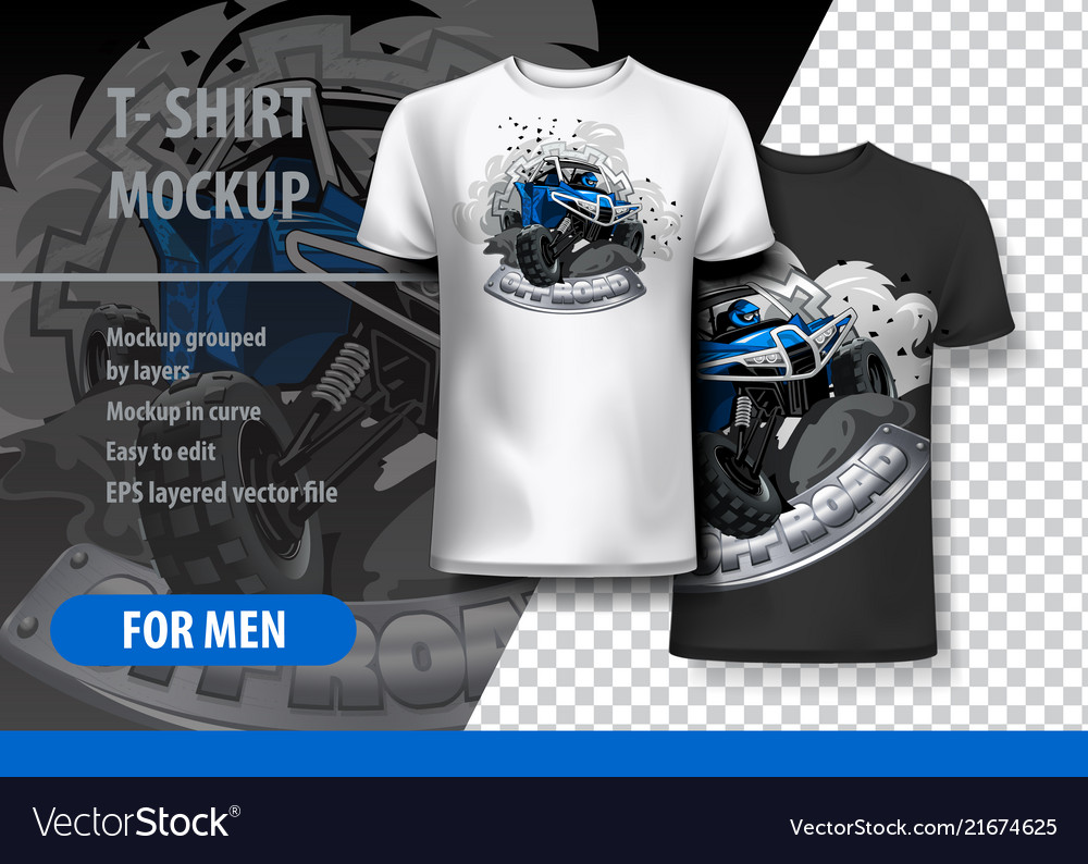 T-shirt template fully editable with blue