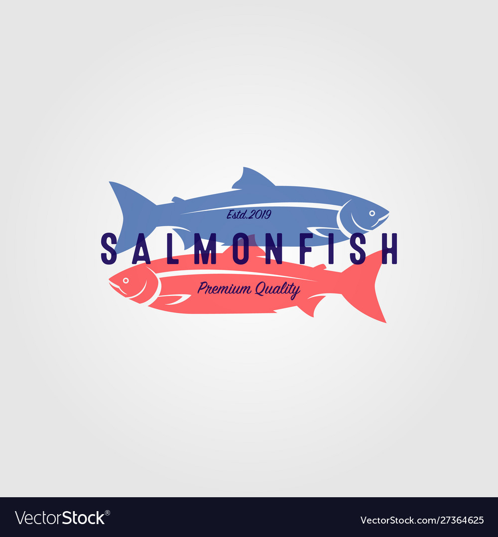 Vintage salmon fish logo seafood label badge