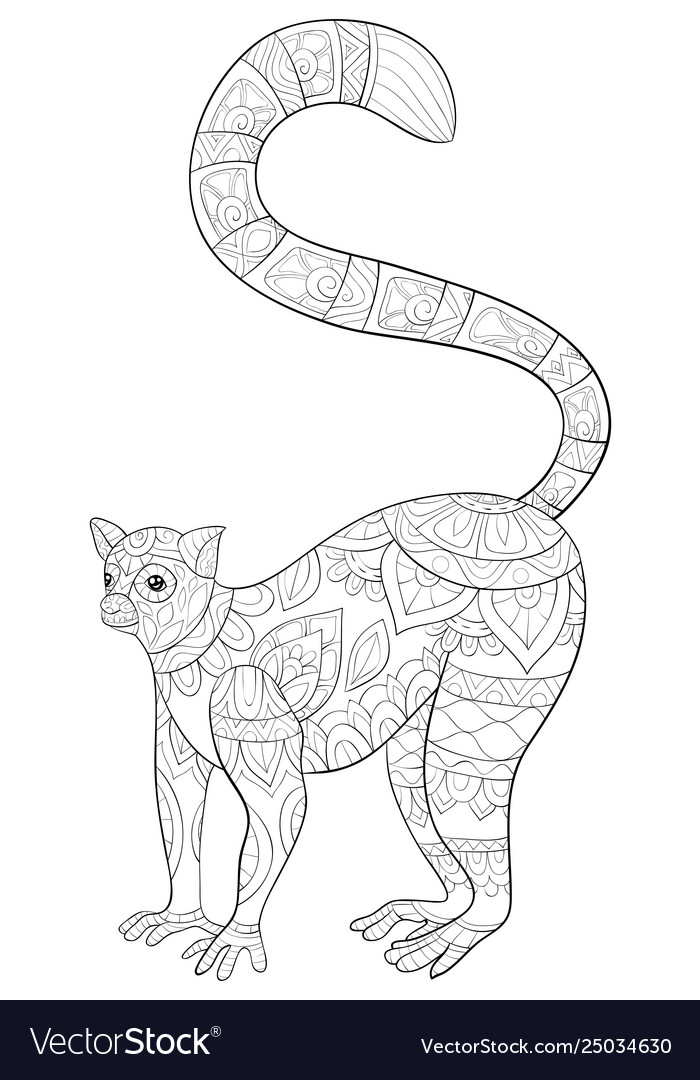 Cute Ring Tailed Lemur Coloring page | Free Printable Coloring ... | 1080x700