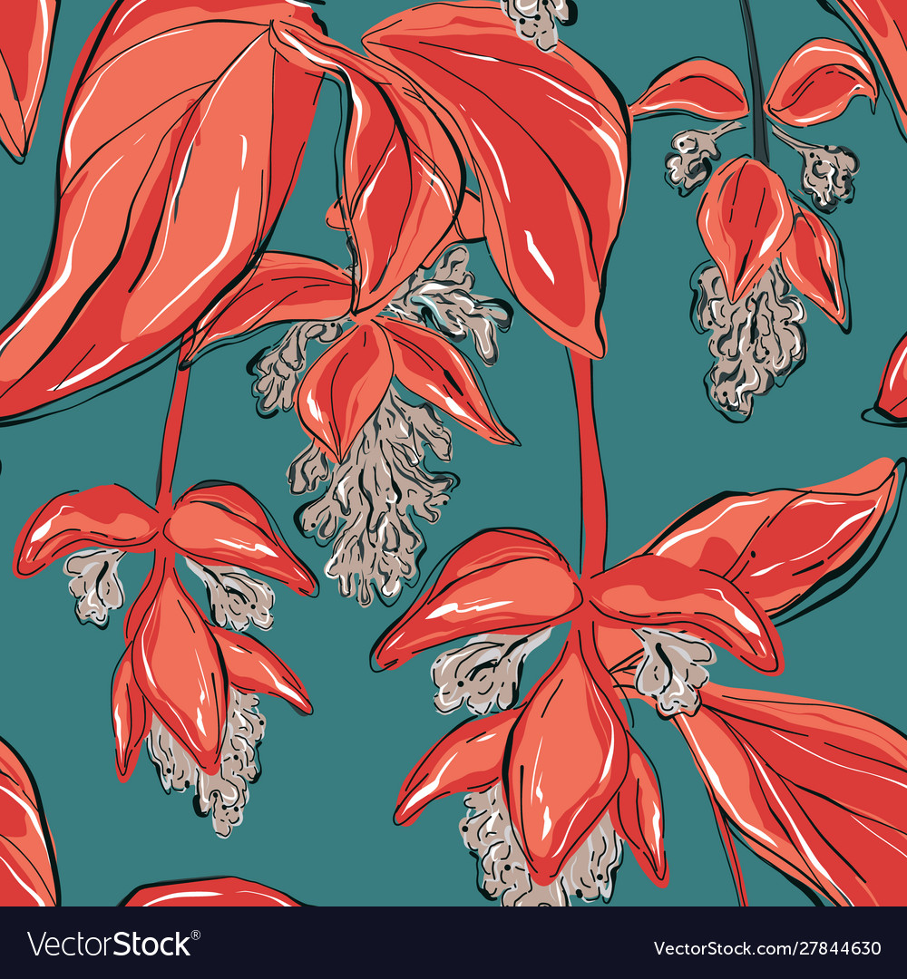 Beautiful red seagreen vintage floral pattern