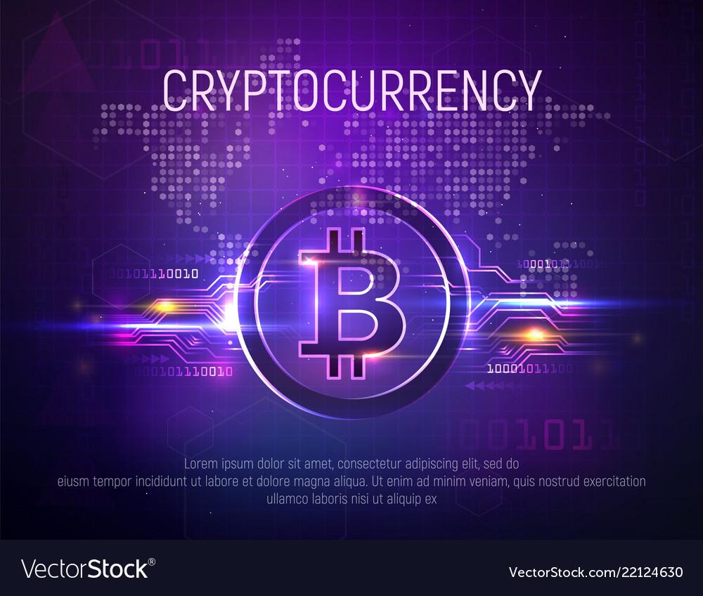 Bright bitcoin mining technology background