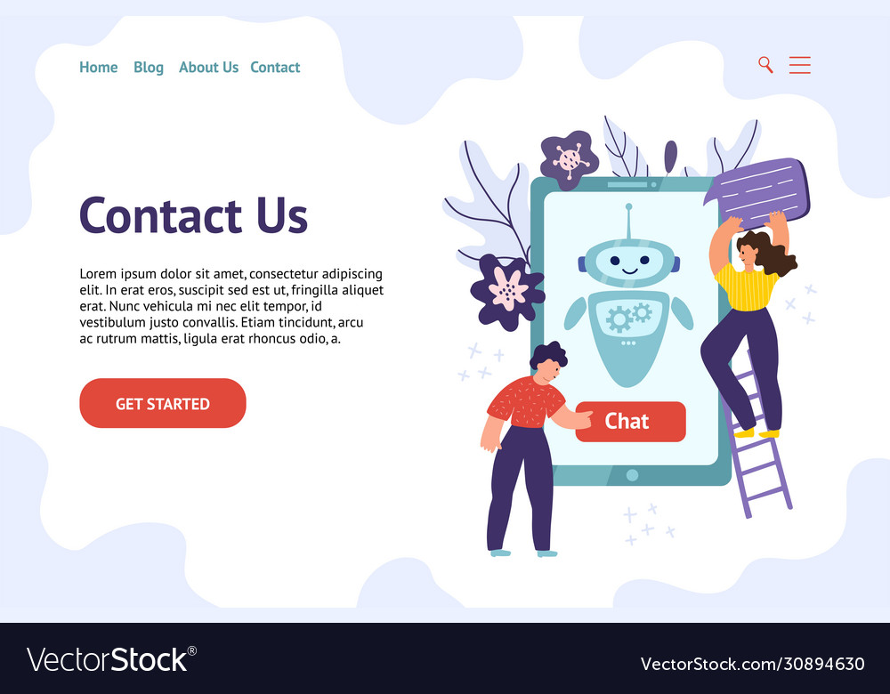 Chatbot header template for website contact us