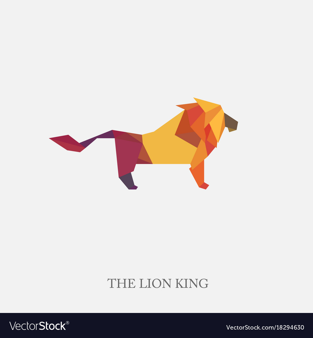 Color Of Origami Lion Vector Image