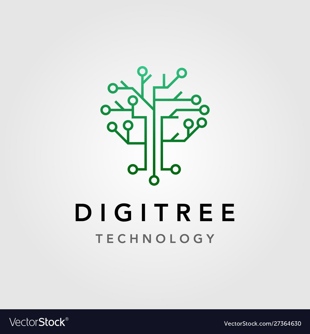 Digital tree technology electric circuit logo