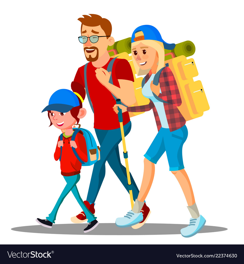 Family go to camping with backpacks on their backs
