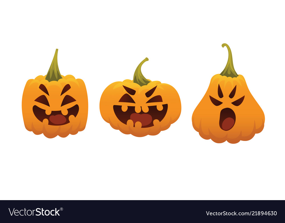 Funny smiling halloween pumpkins in different