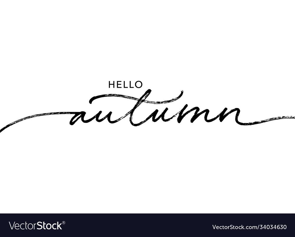 Hello autumn lettering text brush lettering
