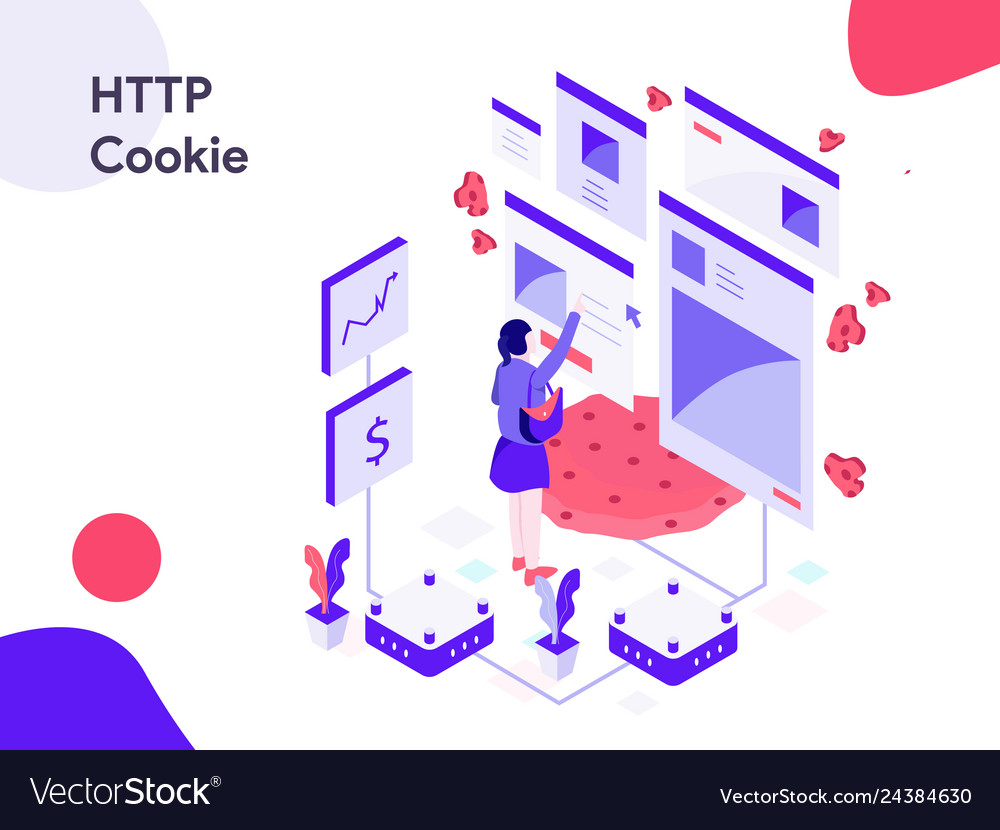 Http cookie isometric modern flat design style