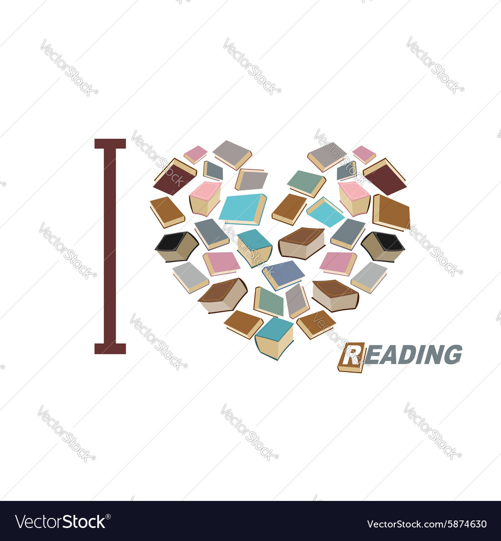 I love to read Symbol heart of book reading Many