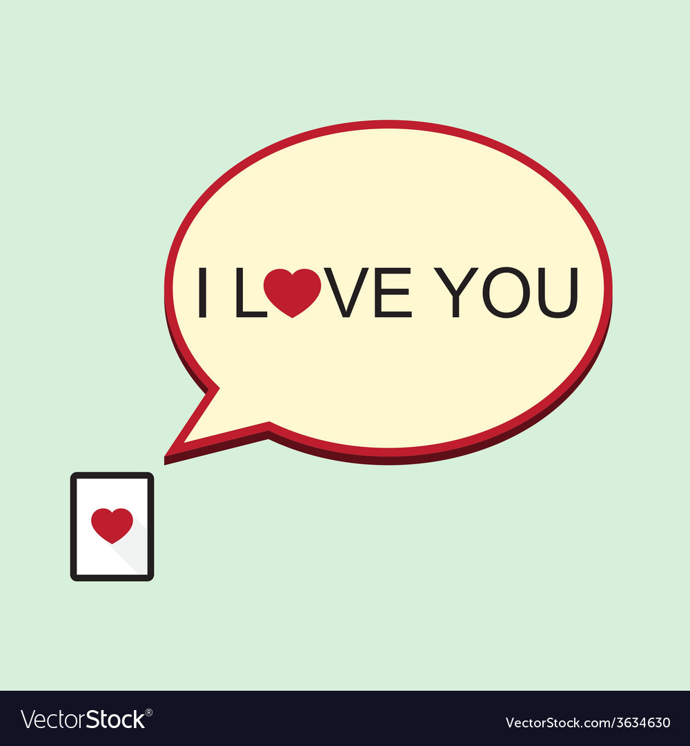 i love you speech bubble with tablet vector image