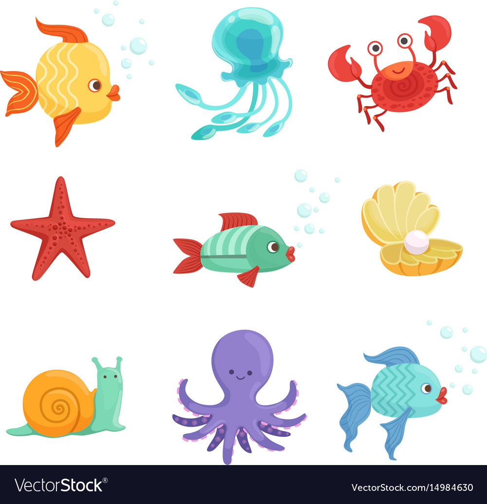 Marine set with underwater plants and sea fishes