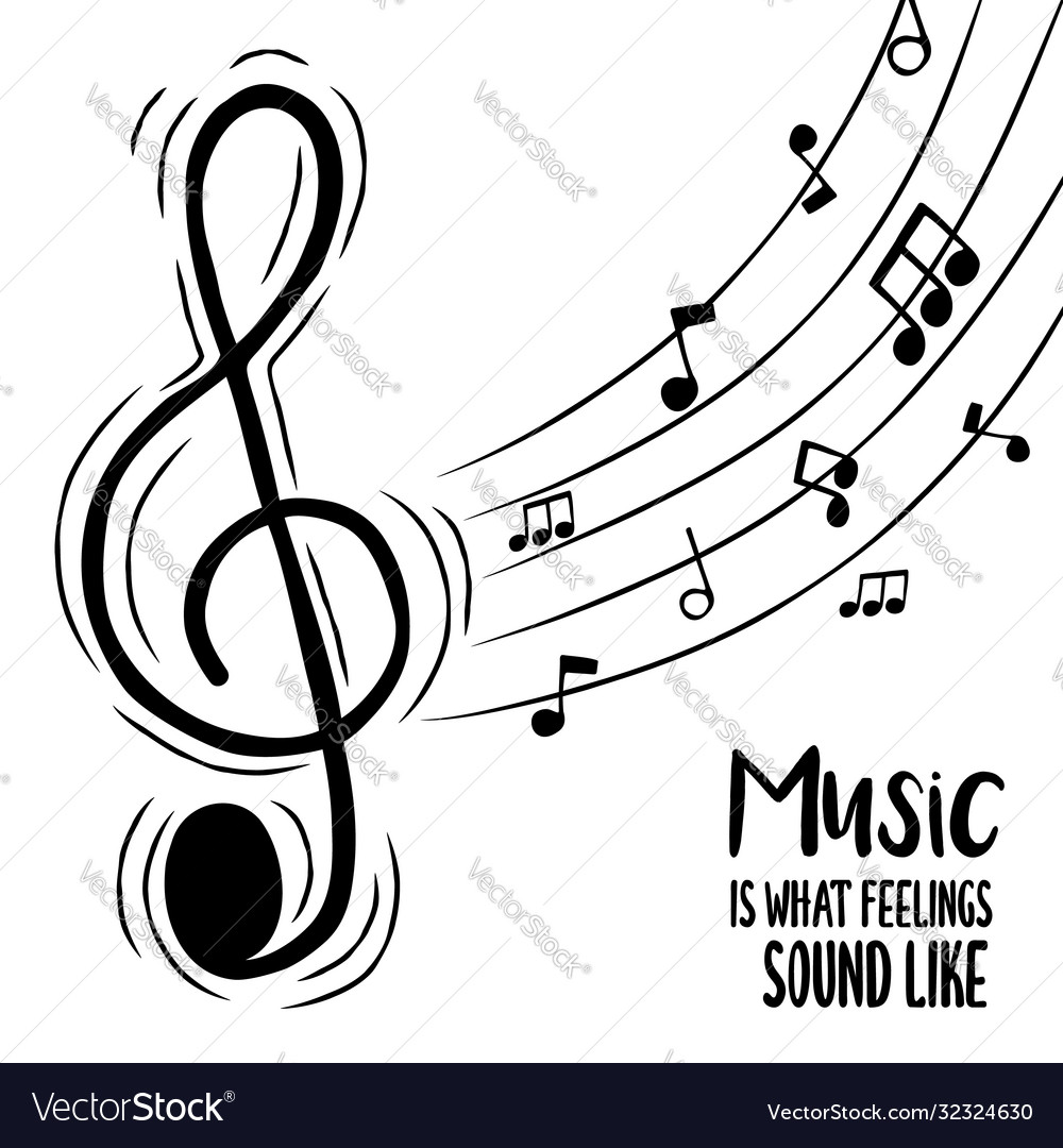 Music feelings concept musical treble note