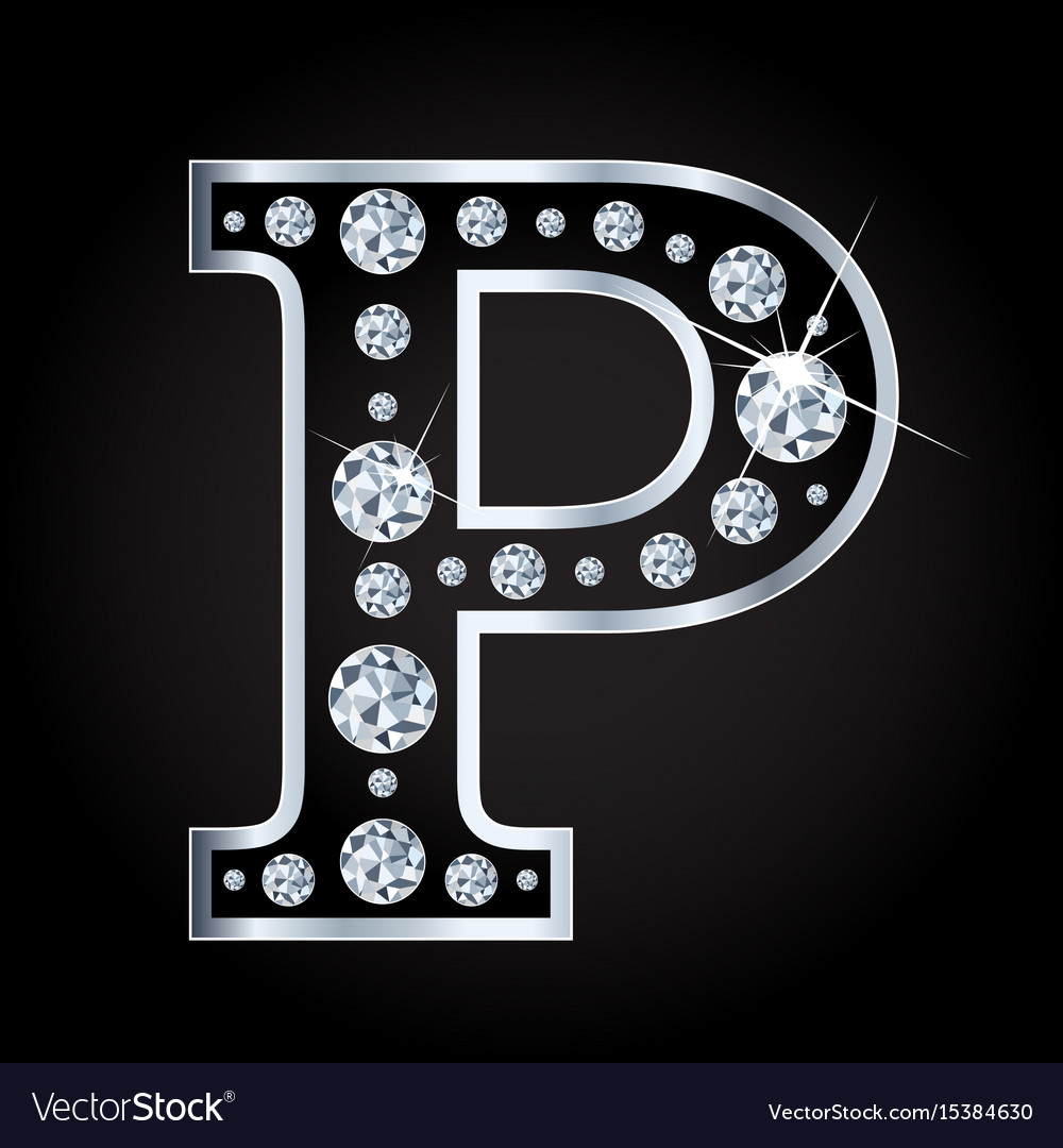 P letter made with diamonds isolated on