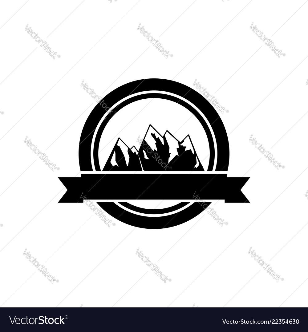 Retro logo of mountains