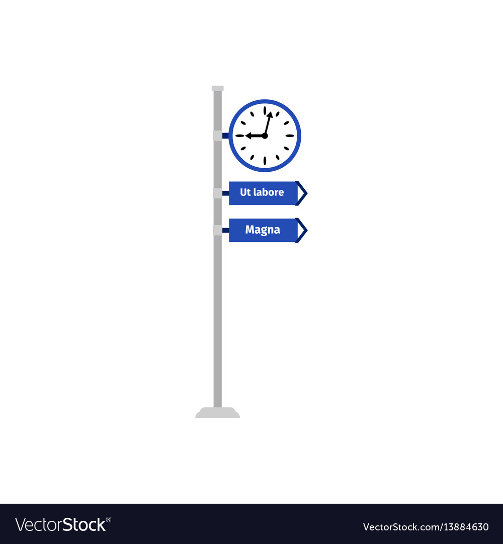 Road direction sign with clock vector image