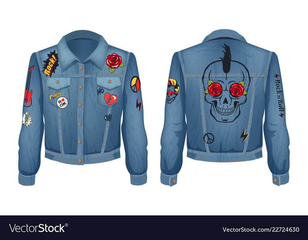 Rock jacket of denim cloth