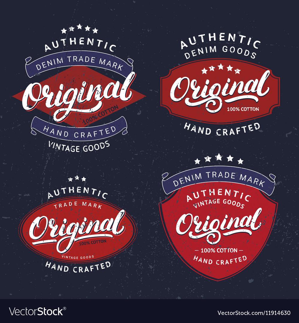 Set of Originals hand written lettering for label vector image