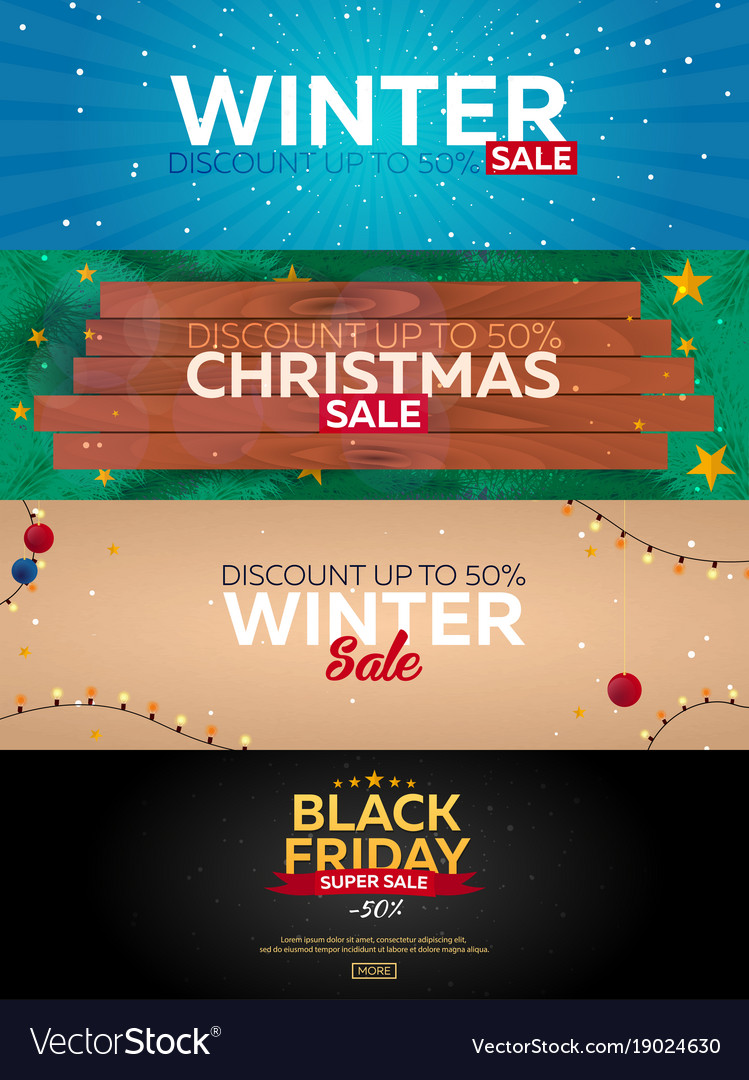 Set winter sale posters black friday christmas