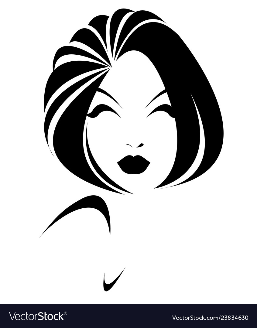 Short Hair Style Icon Logo Women Face On White