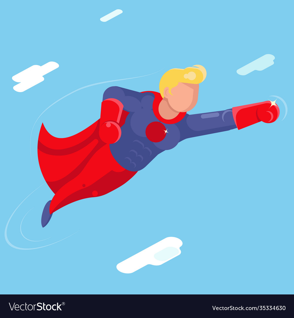 Super hero modern flying sky clowds character flat vector