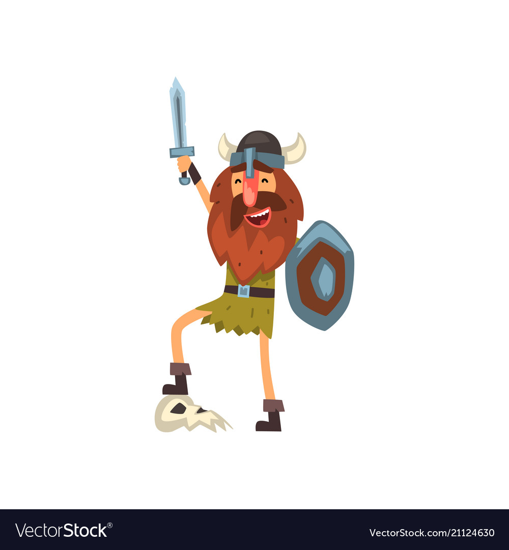 Viking celebrating victory with sword and shield